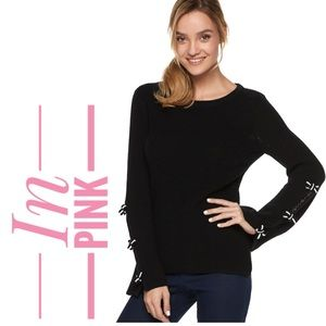 Women's ELLE Pink Bow-Sleeves Sweater